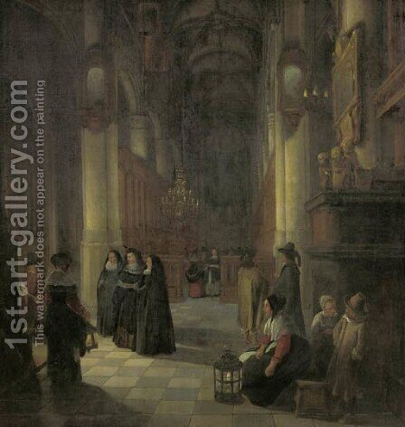 Elegant women and other townsfolk in the aisle of a Gothic church at night by (after) Anthonie De Lorme - Reproduction Oil Painting