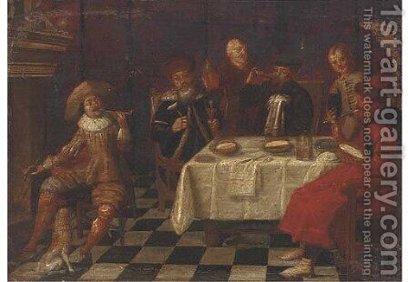 Elegant company dining in an interior by (after) Anthonie Palamedesz. (Stevaerts, Stevens) - Reproduction Oil Painting