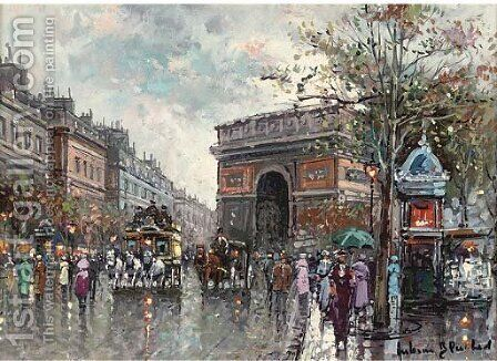 Paris in the rain by (after) Antoine Blanchard - Reproduction Oil Painting