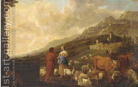 A shepherd and shepherdess with cattle, sheep and goats in a landscape, a village beyond by (after) Anthonie Goubau - Reproduction Oil Painting