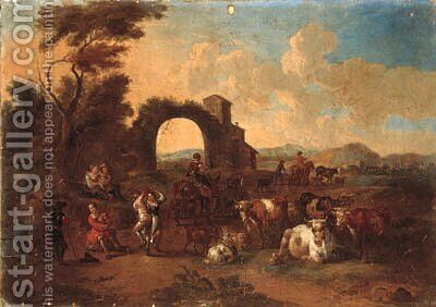 An Italianate landscape with drovers and cattle and peasants dancing by (after) Anthonie Goubau - Reproduction Oil Painting
