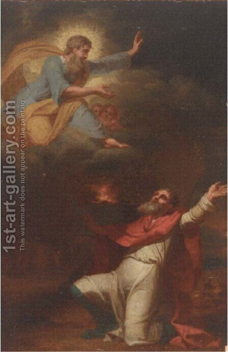 God appearing in a vision to a prophet by (after) Mengs, Anton Raphael - Reproduction Oil Painting