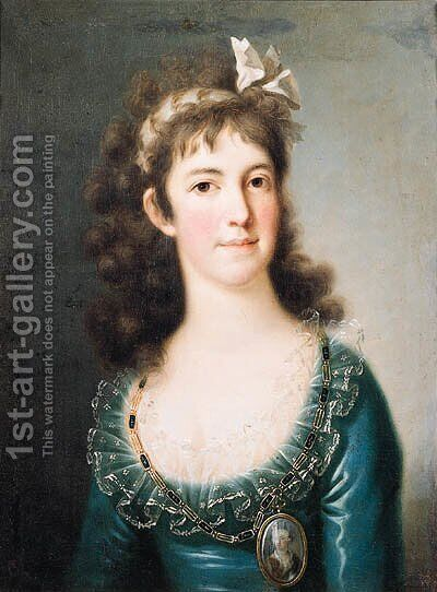 Portrait of a noblewoman, half length, wearing a blue dress with lace collar, a portrait miniature on a chain around her neck, a ribbon in her hair by (after) Mengs, Anton Raphael - Reproduction Oil Painting