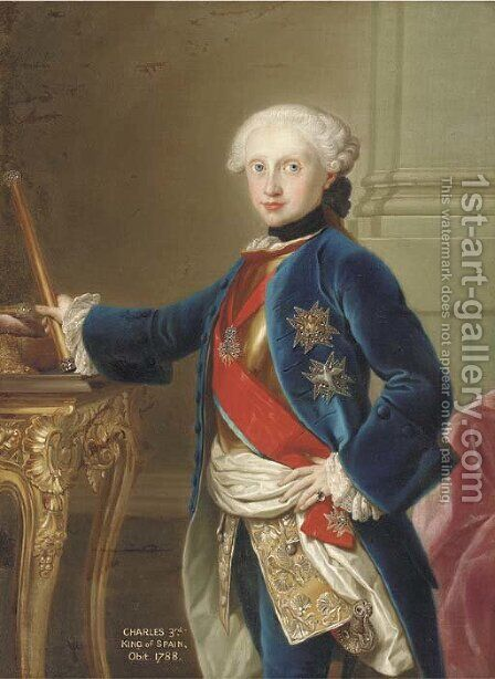 Portrait of King Charles III of Spain (1716-88), three-quarter-length, in a blue velvet coat, with the Order of the Golden Fleece, standing by a table by (after) Mengs, Anton Raphael - Reproduction Oil Painting
