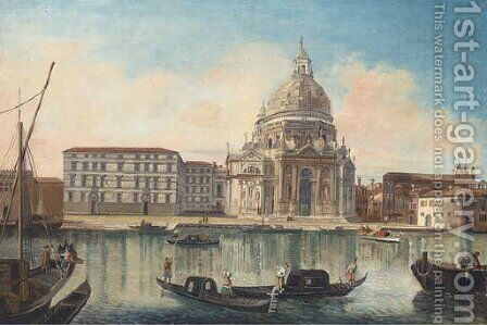 Gondolas before Santa Maria Salute, Venice by (after) (Giovanni Antonio Canal) Canaletto - Reproduction Oil Painting