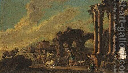 Shepherds and shepherdesses amongst classical ruins by (after) Antonio Diziani - Reproduction Oil Painting