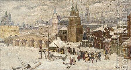 Revellers before the Kremlin, Moscow by (after) Apollinarii Mikhailovich Vasnetsov - Reproduction Oil Painting