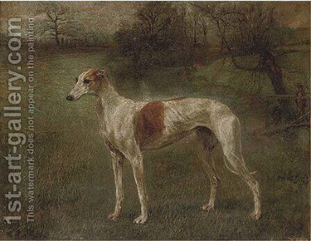 A prize greyhound in a landscape by (after) Arthur Wardle - Reproduction Oil Painting
