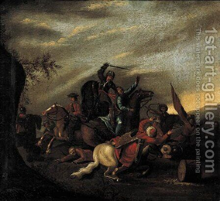 A cavalry battle between Turks and Christians by (after) August Querfurt - Reproduction Oil Painting