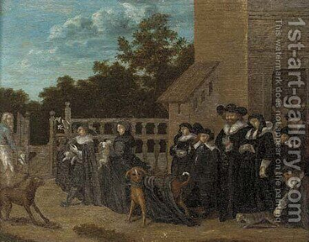 A procession from a church with the congregation's pets by (after) Barend Fabritius - Reproduction Oil Painting