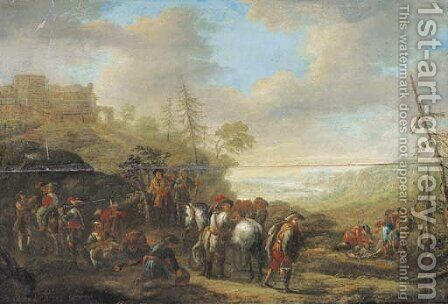 A military encampment with a hilltop fort beyond by (after) Barend Gael Or Gaal - Reproduction Oil Painting