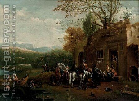 A river landscape with a hawking party at rest outside a tavern by (after) Barend Gael Or Gaal - Reproduction Oil Painting