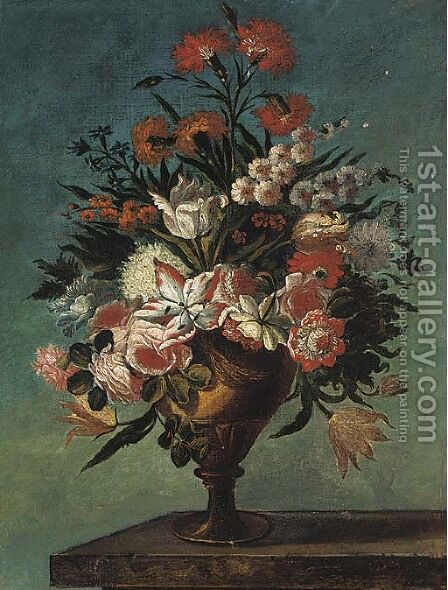 Carnations, roses, tulips, bluebells and other flowers in an urn on a ledge by (after) Bartholome Perez - Reproduction Oil Painting