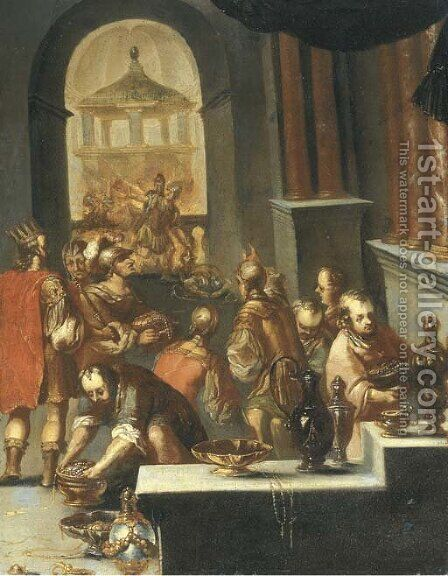 The sack of a Temple by (after) Bartholomeus Spranger - Reproduction Oil Painting