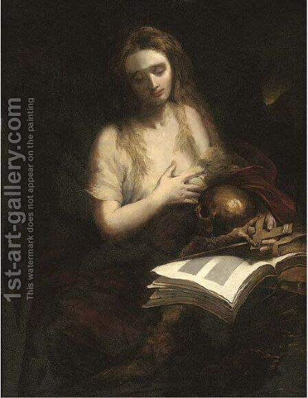 The Penitent Magdalen by (after) Murillo, Bartolome Esteban - Reproduction Oil Painting