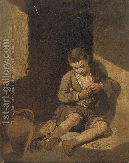 A quiet moment by (after) Murillo, Bartolome Esteban - Reproduction Oil Painting
