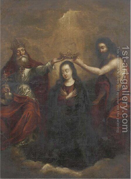 The Coronation of the Virgin by (after) Murillo, Bartolome Esteban - Reproduction Oil Painting