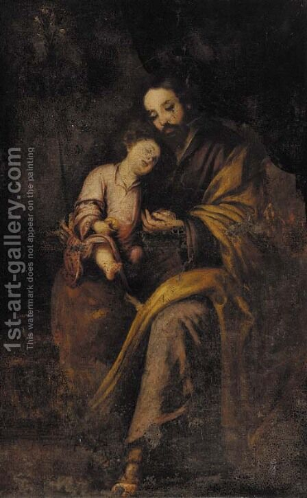 Saint Joseph and the Christ Child 3 by (after) Murillo, Bartolome Esteban - Reproduction Oil Painting