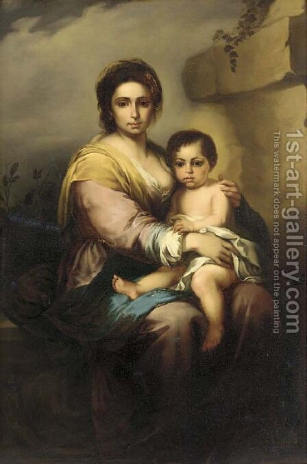 The Madonna and Child by (after) Murillo, Bartolome Esteban - Reproduction Oil Painting