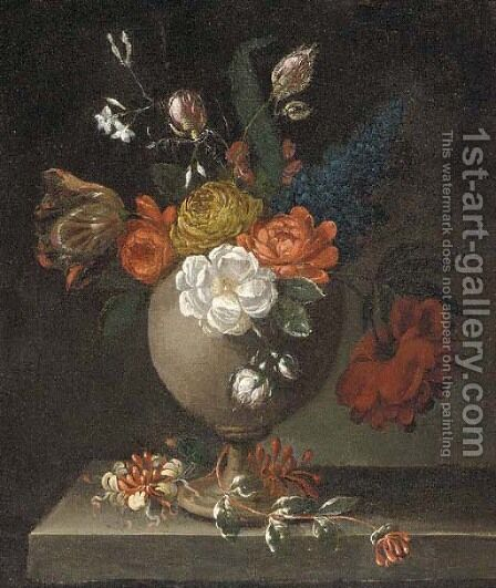 Roses, tulips and other flowers in a vase on a ledge by (after) Bartolome Perez - Reproduction Oil Painting