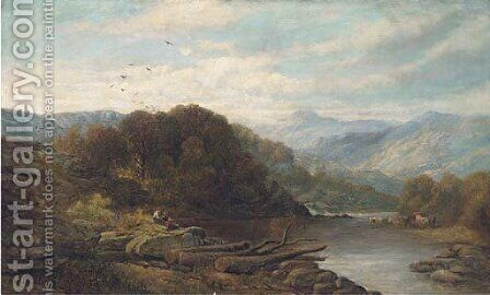 Cattle and figures by a lake in an extensive Welsh landscape by (after) Benjamin Williams Leader - Reproduction Oil Painting