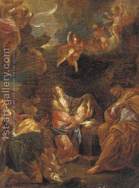 The Adoration of the Shepherds by (after) Bernardino Cavallino - Reproduction Oil Painting