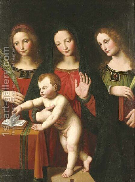The Madonna and Child with two female saints by (after) Bernardino Luini - Reproduction Oil Painting