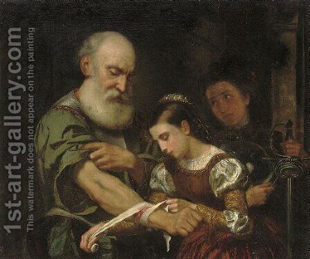 A young girl binding the wound of an old man by (after) Bernhard Keil - Reproduction Oil Painting