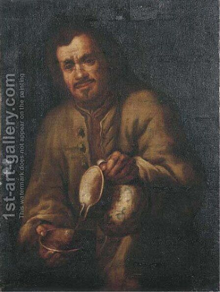 A man pouring wine into a drinking bowl by (after) Bernhard Keil - Reproduction Oil Painting