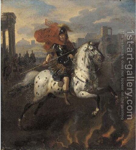 Marcus Curtius by (after) Bertholet Flemal - Reproduction Oil Painting
