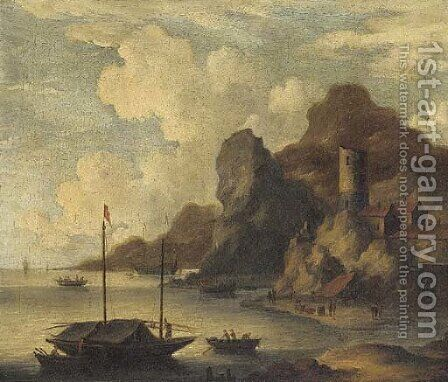 A Mediterranean coastal inlet with fishermen on the shore by (after) Bonaventure II Peeters - Reproduction Oil Painting