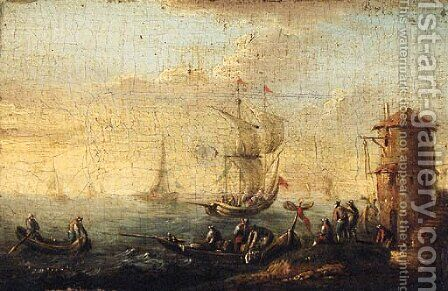 Rowing boats by a shoreline, a kaag beyond; and A shipwrecked sailing boat off a rocky coastline by (after) Bonaventure II Peeters - Reproduction Oil Painting