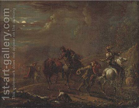 Figures fleeing a burning town by (after) Carel Van Falens Or Valens - Reproduction Oil Painting