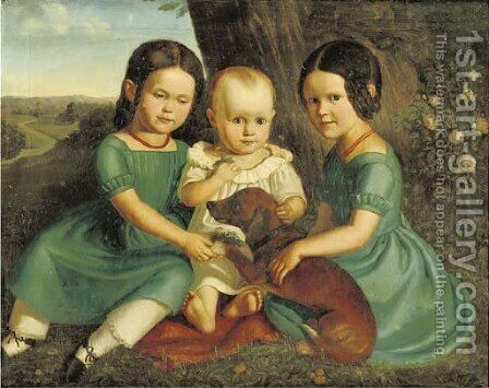 Siblings with their favorite friend by (after) Carl The Elder Begas - Reproduction Oil Painting