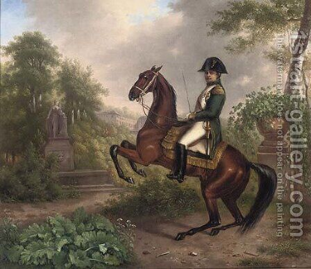 Napolean on horseback in an Italianate landscape by (after) Carle Vernet - Reproduction Oil Painting