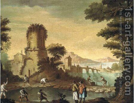 An Italianate landscape with fishermen before a town by (after) Carlo Bonavia - Reproduction Oil Painting