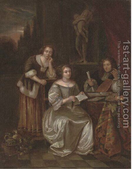 Elegant company making music in an interior by (after) Caspar Netscher - Reproduction Oil Painting