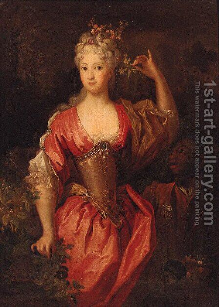Portrait of a lady 2 by (after) Caspar Netscher - Reproduction Oil Painting