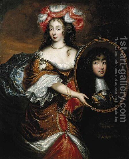 Portrait of Princess Henrietta Anna Stuart of England (1644-1670) by (after) Caspar Netscher - Reproduction Oil Painting