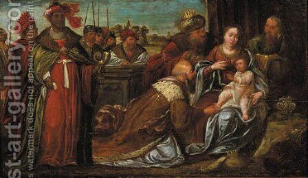 The Adoration of the Magi by (after) Kasper Or Gaspar Van Den Hoecke - Reproduction Oil Painting