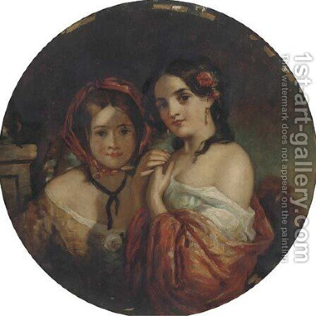 Portrait of two young girl by (after) Charles Baxter - Reproduction Oil Painting