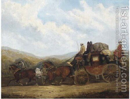 The London to Dorking coach by (after) Charles Cooper Henderson - Reproduction Oil Painting