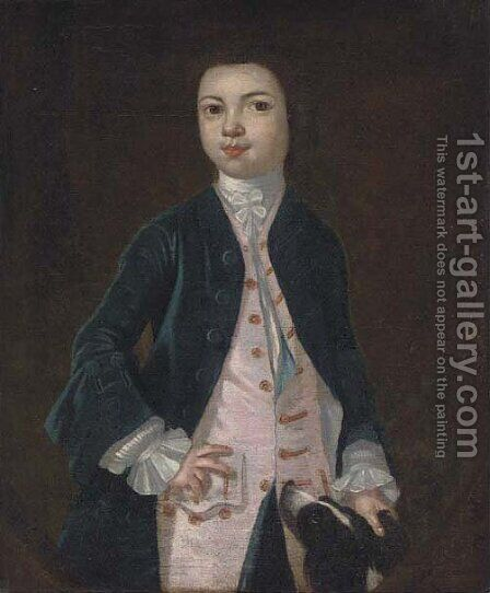 Portrait of a boy in a blue coat and pink waistcoat, a dog at his side, feigned oval by (after) Charles D' Agar - Reproduction Oil Painting