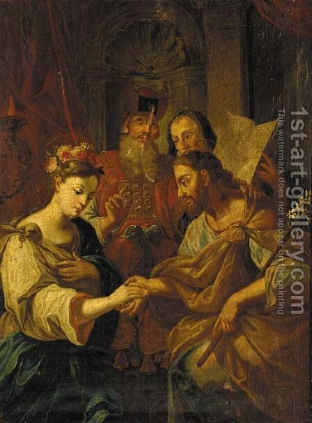 The Marriage of the Virgin by Charles Joseph Natoire - Reproduction Oil Painting