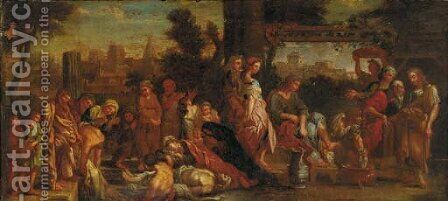 The death of Ananias and Sapphira with the washing of Peter's feet () by (after) Charles Lebrun - Reproduction Oil Painting