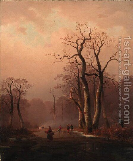 Figures in a frozen Winter landscape by (after) Charles Leickert - Reproduction Oil Painting