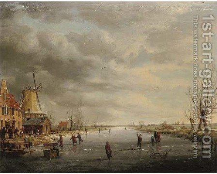 Figures on a frozen canal by (after) Charles Leickert - Reproduction Oil Painting