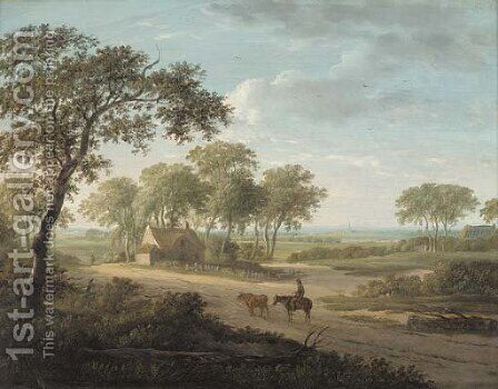 A drover on a path by a cottage in an extensive landscape by (after) Charles Towne - Reproduction Oil Painting