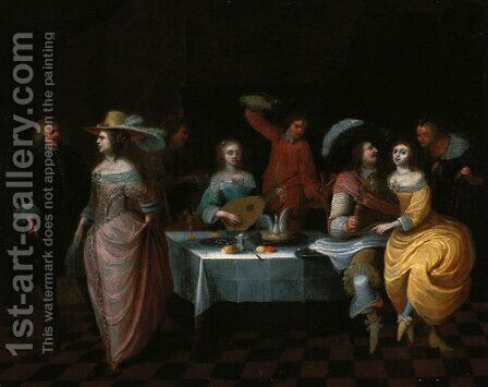 Elegant company at a banquet by (after) Christoffel Jacobsz Van Der Lamen - Reproduction Oil Painting