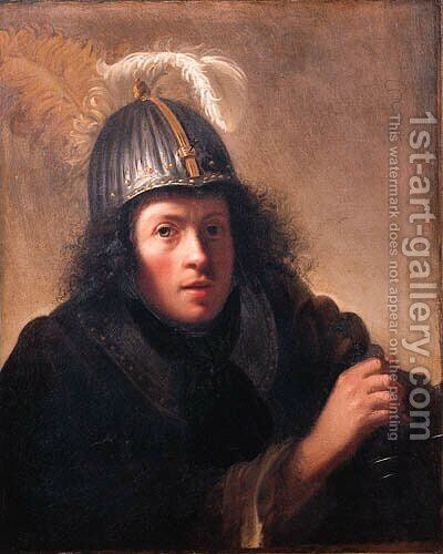 A youth, half length, wearing a helmet and holding a sword by (after) Christoph Paudiss - Reproduction Oil Painting